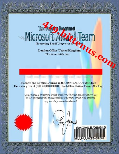 Award winning certificate